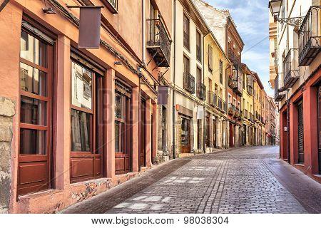 Narrow Pedestrian Street In The Center Of Leon