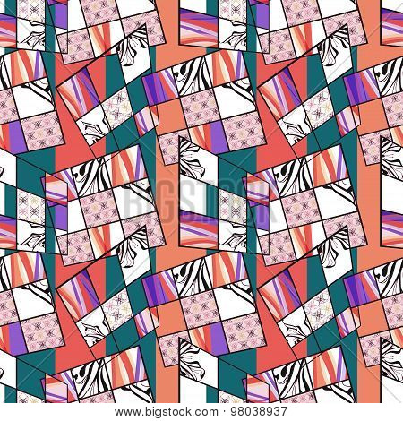 Patchwork Seamless Retro Bright Pattern Modern Background