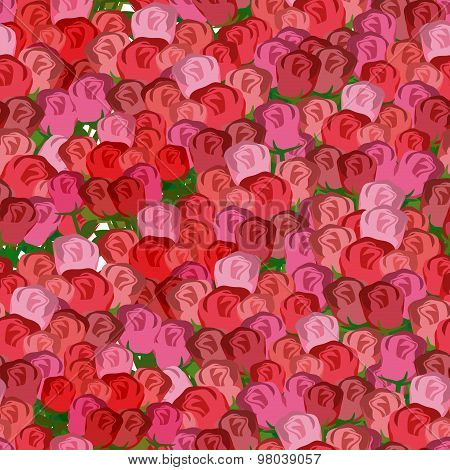 Red And Pink Roses Seamless Pattern. Vector Floral Background Of Rose Buds.