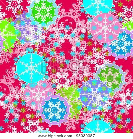 Merry Christmas And Happy New Year Colorful Background With Snowflakes