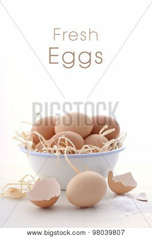 Farm Fresh Eggs On White Background.