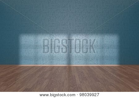 Blue Wall Of Empty Room With Parquet Floor