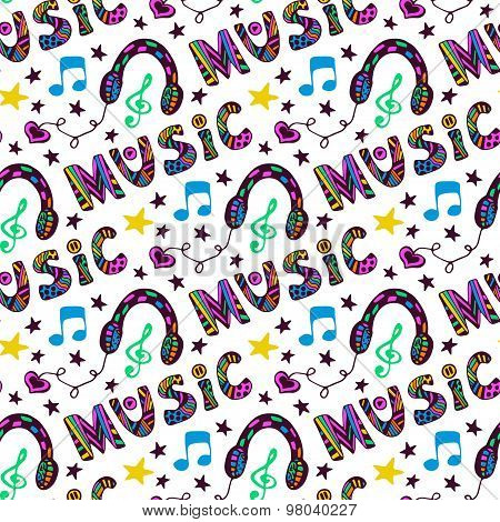 Doodle music seamless pattern with headphones and lettering. Vector illustration in fun hippie color