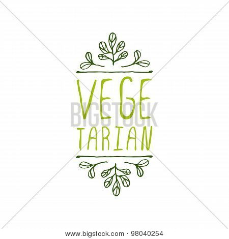 Vegetarian - product label on white background.