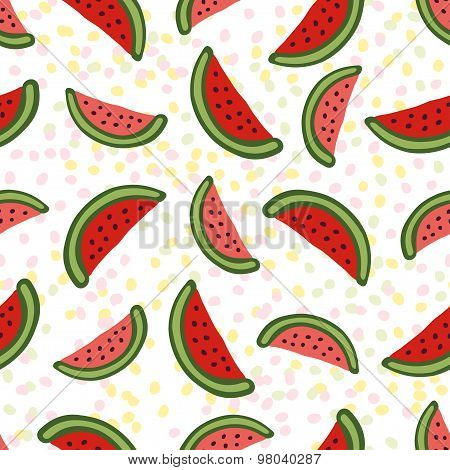 Watermelon seamless pattern. Dessert texture with cute slice
