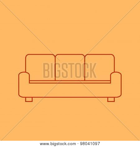 Couch in line style on light orange background. Line couch icon. Isolated couch icon.