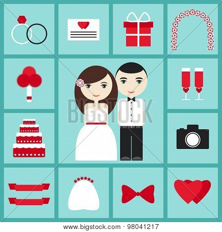 Wedding icons elements set with bride, groom, rings, present, cake, love.