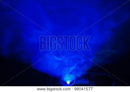 abstract blue light projector. background