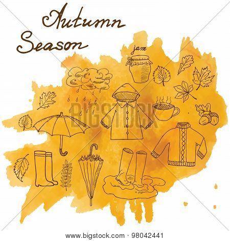 Autumn Season Set Doodles Elements. Hand Drawn Set