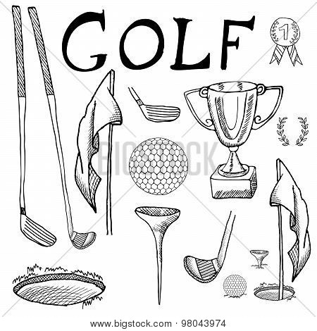 Golf Sport Hand Drawn Sketch Set Vector Illustration With Golf Clubs, Ball, Tee, Hole With Flag, And