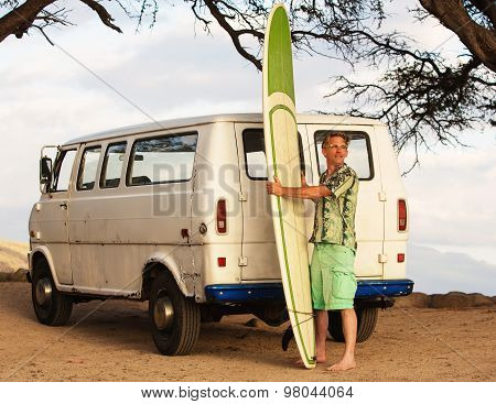 Surfer With Van And Surfboard