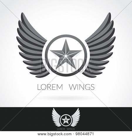 Wing Abstract Logo Template With Star In The Middle Badge Label,  Emblem Icon