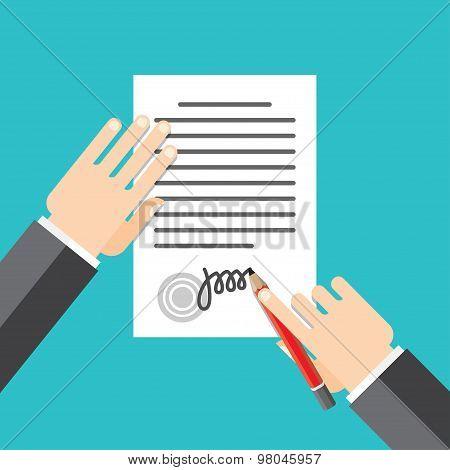 document stamped handle puts his signature