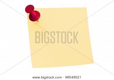 Red Push Pin With Blank Sticky Note