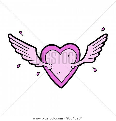 cartoon flying heart