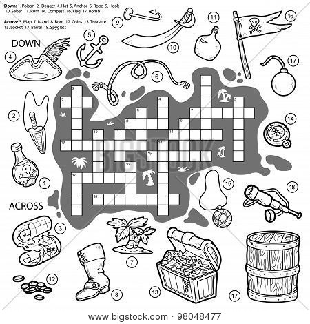 Vector Colorless Crossword, Education Game For Children About Pirates