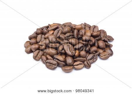 Heap Of Whole Coffee Beans On White