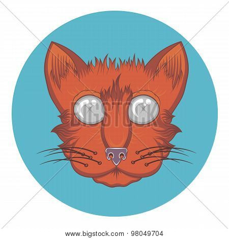vector red cat