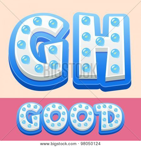 Vector cool lamp alphabet in comic style.  Letters G H
