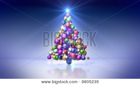 Christmas tree of colored bulbs