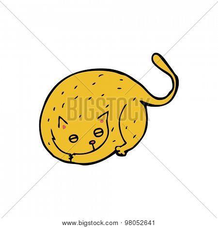 cartoon curled cat