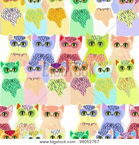 A lot of kittens in bright colors seamless pattern, vector illustration.