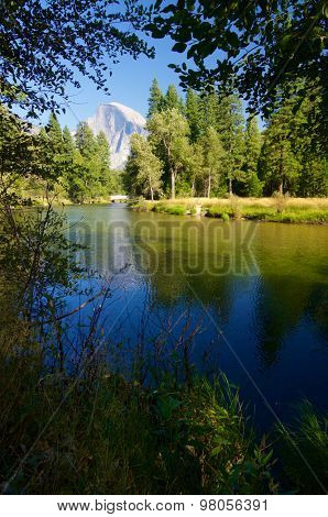 view of the mountain known as Half Dome in Yosemite National Park, California, United States.