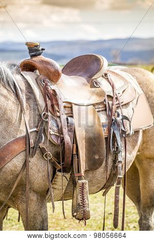 Horse Saddle On The Ranch
