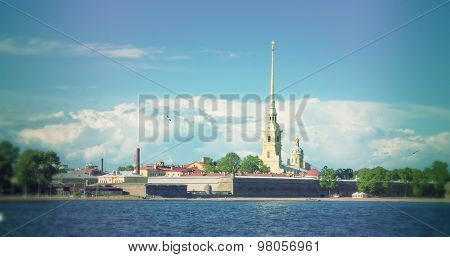 St. Petersburg. Peter and Paul Fortress. Russia. Filtered image: cool cross processed vintage effect.