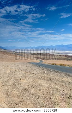 American Highway In The Mountains Of Death Valley National Patk In California, Usa.
