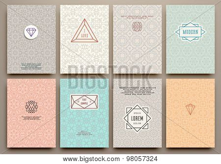 Graphic Design Templates for Logo, Labels and Badges. Abstract Line Patterns Backgrounds. Collection for Banners, Flyers, Placards and Posters. Retro Backgrounds.