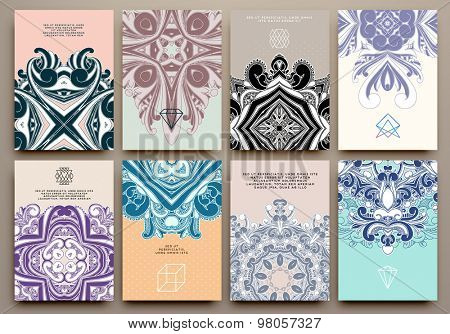 Set of Vintage Ornamental Brochures and Flyer Pages. Islam, Indian, Arabic traditional Patterns. Vector Design Templates Collection for Banners, Flyers, Placards and Posters. Retro Backgrounds.