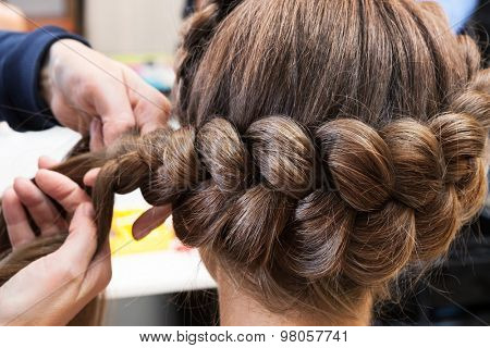 braided braids brunette at the beauty salon