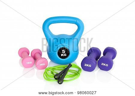 Gym Workout Equipment Isolated On White Background