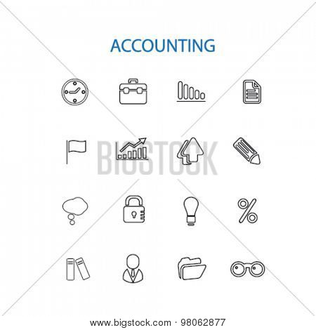 accounting business services, bank, finance, consulting, consultation ouline black isolated icons, signs, illustration set, vector on white background for web, application