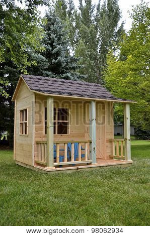 Child's backyard playhouse