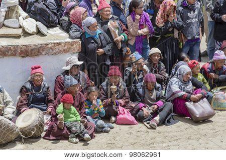 Tibetan Buddhist Old People In The Monastery Of Lamayuru, Ladakh, India