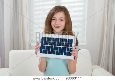 Happy Girl With Solar Panel