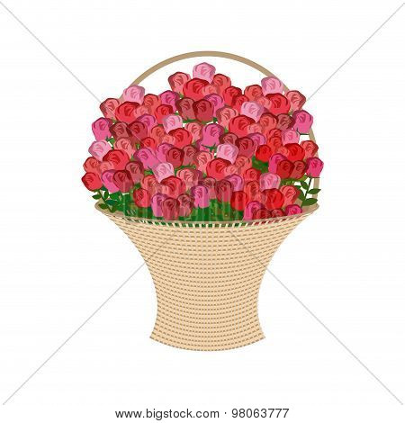 Basket Of Flowers On A White Background. Large Basket Of Red Roses. Vector Illustration