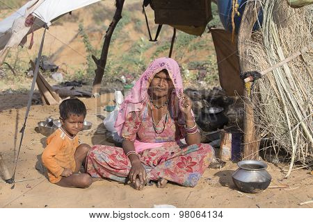 Woman And Child At The Attended The Annual Pushkar Camel Mela. India