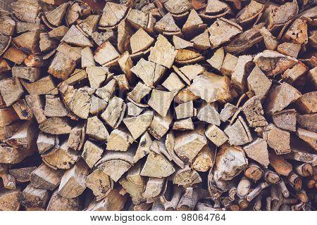 Pile Of Firewood, Vintage Effect