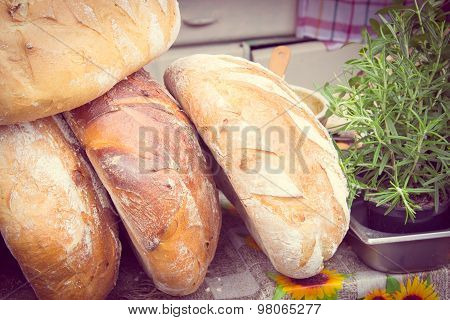 Vintage Photo, Freshly Baked Traditional Loaves Of Rye Bread On Stall