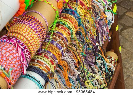 Collection Of Colorful Bracelets On Stall At The Bazaar