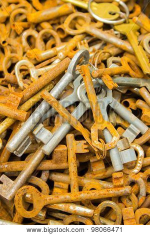 Heap Of Old Rusty Keys For Sale At The Bazaar As Background