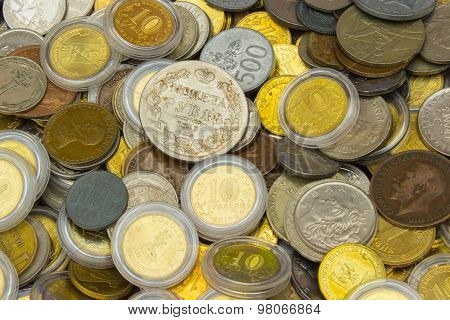 Heap Of Old Dirty Collection Of Coins For Sale