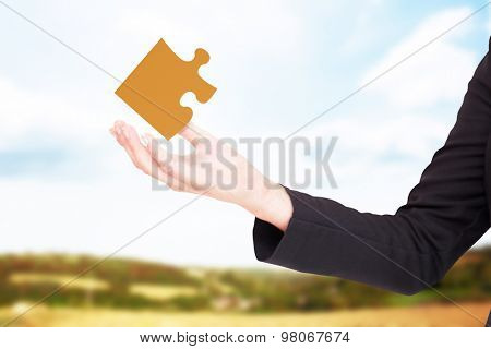 Businesswomans arm presenting against blue sky over fields