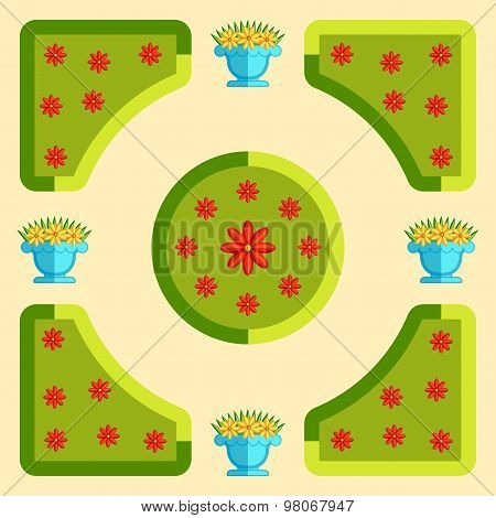 The plan of the park. Flat vector illustration .
