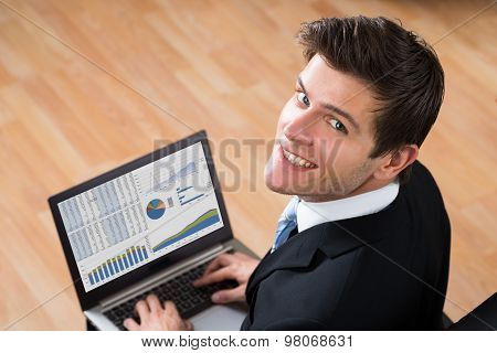 Businessman Analyzing Statistical Data On Laptop