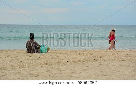 Burmese Woman Selling Fresh Fruits On Ngapali Beach