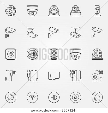 Home security cameras icons